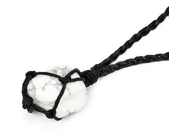 White Howlite Necklace, White Howlite Jewelry, Healing Crystal Necklace, Tumbled Howlite, Stone Necklace, Chakra Necklace