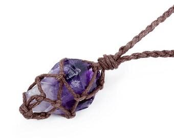 Raw Amethyst Necklace, Boho Jewelry, Raw Crystal Jewelry, February Birthstone, Reiki Necklace, Amethyst Pendant, Amethyst Crystal