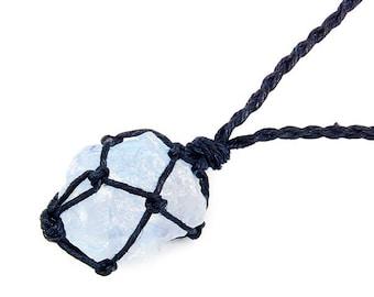 Raw Celestite Necklace, Blue Stone Necklace, Healing Crystal Necklace, Healing Stone Necklace