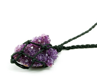 Amethyst Druzy Necklace, Raw Amethyst Jewelry, February Birthstone, Reiki Necklace, Vegan Jewelry, Amethyst Cluster