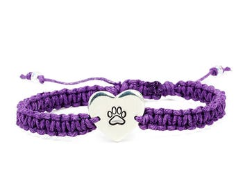 Paw Print Bracelet, Pet Lover Bracelet, Heart Bracelet, Paw Bracelet, Animal Bracelet, Handstamped Bracelet