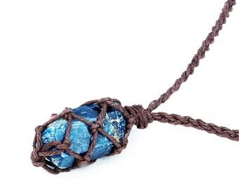 Raw Apatite Necklace, Boho Jewelry, Raw Crystal Jewelry, Blue Birthstone, Reiki Necklace, Vegan Jewelry, Rough Apatite