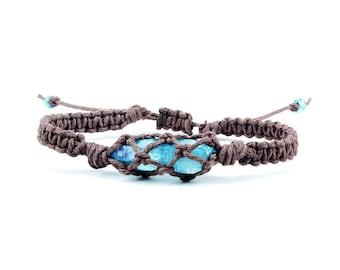 Aqua Aura Quartz Bracelet, Summer Jewelry, Hemp Bracelet, Crystal Bracelet, Macrame Bracelet, Minimalist Bracelet, Yoga Bracelet
