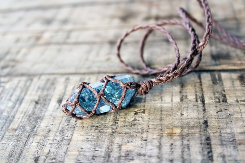 Aqua Aura Quartz Necklace, Raw Crystal Necklace, Healing Crystal Necklace,  Boho Necklace, Boho Jewelry, Gift for Her, Hemp Necklace