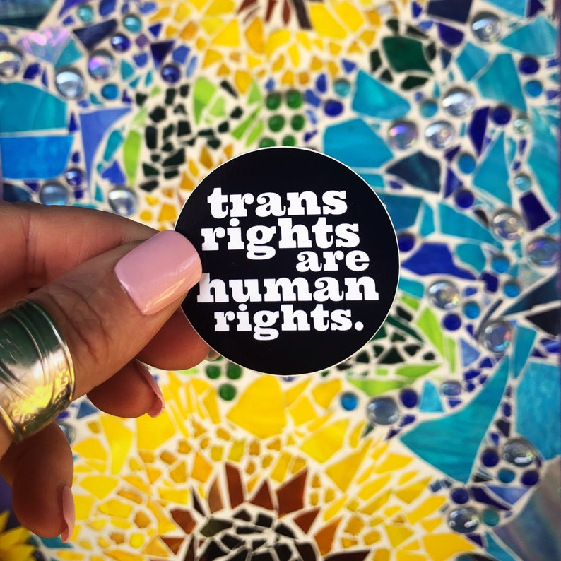 Mini Sticker Trans Rights are Human Rights 2\u201d vinyl circle sticker by Jaymee Laws