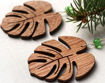 ON VACATION, Christmas Ornaments, Set of 2 Wooden Leaves Monstera Nordic Style Wood Laser Cut Holiday Handmade Christmas decor