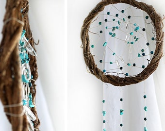 ON VACATION, Turquoise Wall Art Large Dream Catcher Wall Hanging Mixed Stone Quartz Crystal Turquoise Chrysocolla crystal mobile