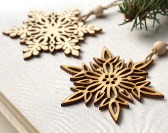 ON VACATION, Christmas Ornaments, Set of 2 Wooden Snowflakes, Wooden Ornaments Wood Snowflake Laser Cut Snowflakes Holiday Handmade