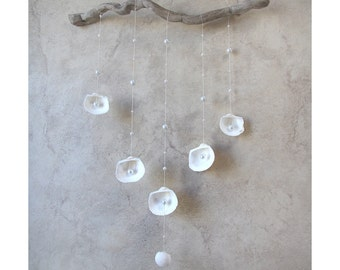 ON VACATION, White Shell Mobile with Pearls, Beach Driftwood from West Coast Canada, Bedroom Decor Rustic Wedding Decor