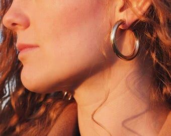 """Chunky Hoop Earrings 1.75"""""""