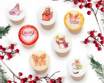 Christmas Holiday PopSocket or Badge Reel Animal Gingerbread Glitter Sparkle Phone Grip Gift