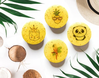 Yellow Summer PopSocket or Badge Reel (4 Styles) Panda Parrot Cat Princess Pineapple Phone Grip Gift