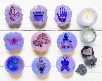 Mystical Witch Geode PopSocket or Badge Reel Witchy Spell Spooky Phone Grip Gift