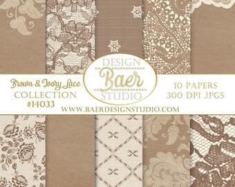 DIGITAL BACKGROUNDBrown Lace Digital Paper Brown And Ivory Rustic Wedding Thanksgiving 14033