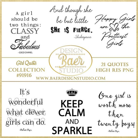 Girl Quotes, Inspirational Quotes about Girls, Little Girl Quotes, Quotes  for Planner Stickers, Photo Overlays, Digital Stamps, #91916