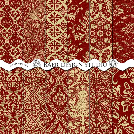 Digital Scrapbook Paperred And Gold Digital Paper Red And Etsy