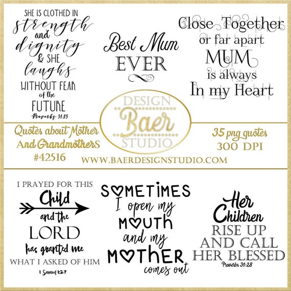 Mother Quotesgrandmother Quotes Digital Word Art Etsy