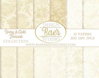 IVORY DIGITAL PAPER: Wedding Digital Paper, Digital Paper Vintage, Cream Digital Paper, Ivory and Gold Digital Paper, Digital Paper Pack