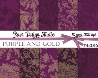 Plum and Gold Digital Paper:Purple Digital Paper, Purple and Gold Digital Paper, Printable Scrapbook Paper, Purple Damask Paper 43016