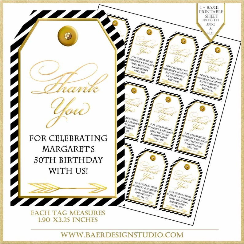 Black And Gold Tag50th Anniversary Thank You Tags 50th Birthday Printable