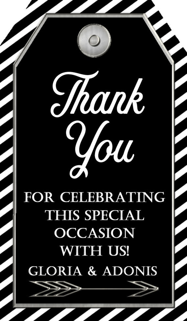 #31918 Printable Tags Engagment Party Black and Silver Thank You Tags:Party favor tags Black and Silver Graduation Thank You Tags