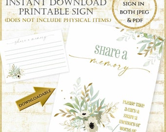 """Sage Green and Gold Share a Memory Sign for anniversary, funeral, celebration of life:Write a Memory for birthday PRINTABLE 8x10"""" sign 92321"""