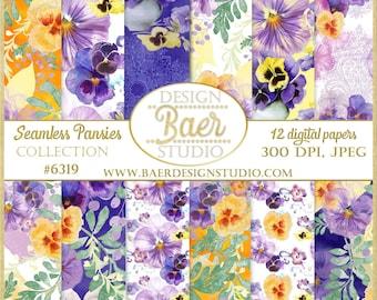 Seamless Flower Digital Paper:Watercolor Pansy Digital Paper, Pansy Seamless Patterns, Pansies Backgrounds, Floral Digital Paper, #6319