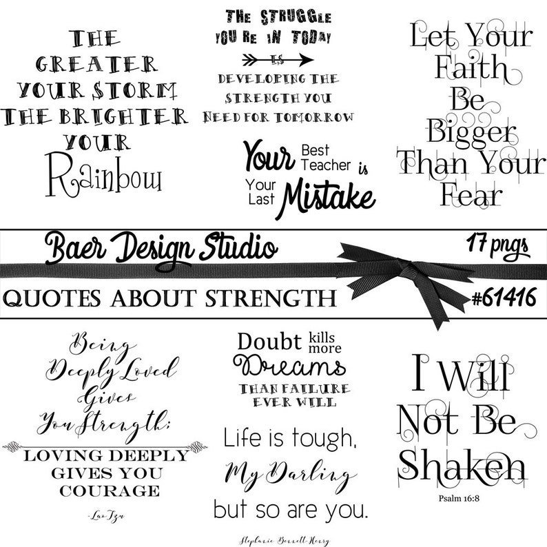 Quotes About Strength Word Art About Strength Inspirational Etsy