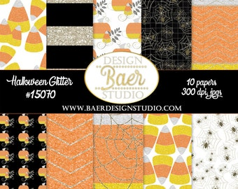 Digital Paper Halloween, Digital Scrapbook Paper, Glitter Digital Paper, Candy Corn Paper, Pumpkin Digital Paper, Spider paper