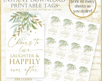 Cheers to love laughter and happily ever after tag:Sage and Gold Wedding Favor Tag, Mint and Gold Wedding Favor printable tags, 92121