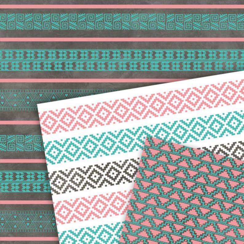 #14078 Striped Digital Paper Pink and Teal Digital Paper:Tribal Digital Paper Pink and Turquoise Digital Paper Aztec Digital Paper