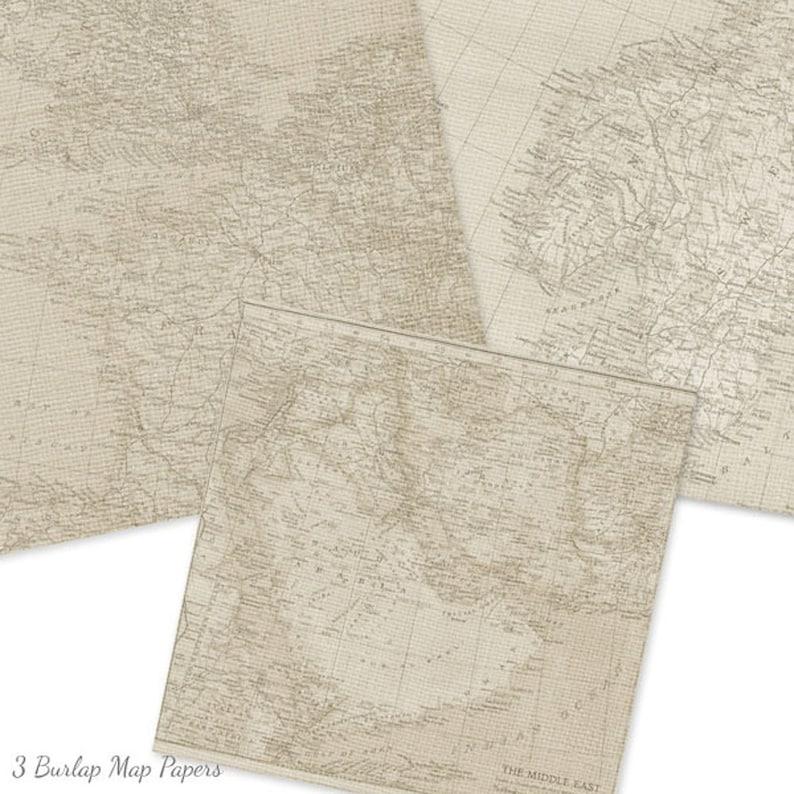 Travel Journal Paper Tan Map Paper DIGITAL SCRAPBOOK PAPER:Map Digital Paper Junk Journal Paper 15127 Taupe Burlap Map Digital Paper