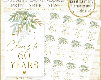Cheers to 60 Years Thank you Tag:60th Birthday Party Favor Tags Digital, Sage Green and Gold Printable Tags, Printable Wine Tag 92721