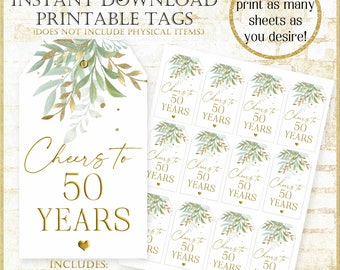Cheers to 50 Years Thank you Tag:50th anniversary Party Favor Tags Digital, Sage Green and Gold 50th birthday Tag, Printable Wine Tag 92221