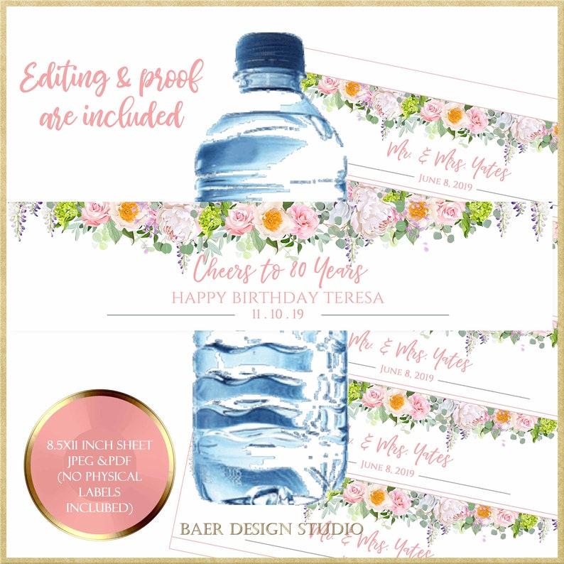 Water bottle Labels:Printable Wedding Water bottle Label image 0