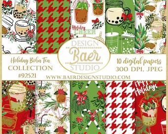 Boba Tea Digital Paper:Christmas Digital Paper, Christmas Seamless Digital Paper, Milk Tea Digital Backgrounds, Whimsical Christmas #92521