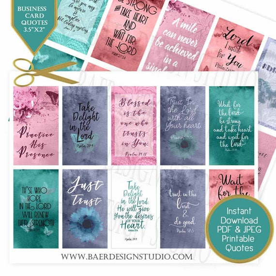 Waiting On The Lord Quotes Business Cards With Bible Verses Etsy
