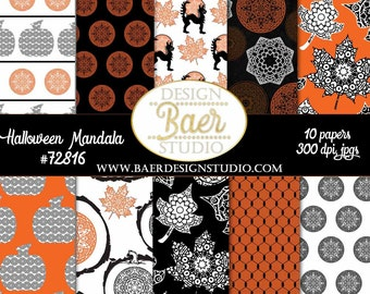 50% off HALLOWEEN DIGITAL PAPER:Halloween Mandala Digital Paper, Black/Orange Digital Paper, Pumpkin Paper, Black Cat Digital Paper, #70516