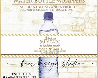 It took me 50 Years to look this good:Printable Water bottle Labels, Personalized Water Bottle Wrapper, Gold Water bottle Label, #92421