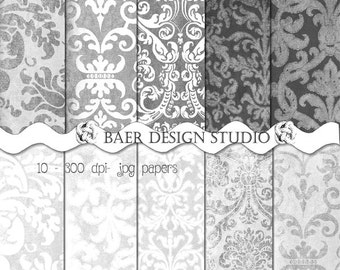 GRAY DIGITAL PAPER:Distressed Grey Digital Paper, White Damask Digital Paper, Gray Damask Digital Paper, Textured Digital Paper #14056
