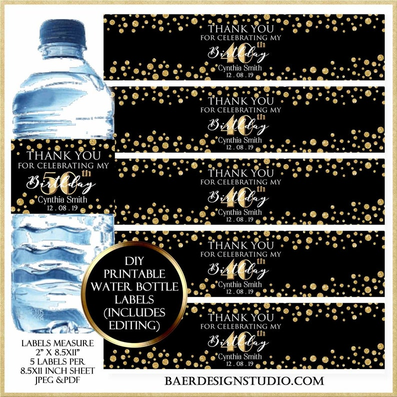 Black and Gold Water bottle Labels:Personalized Waterbottle image 0