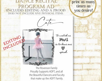 Dance Recital Program Ad includes editing, Dance recital program ad, Dance Recital ad Template, personalization included within 24 hours