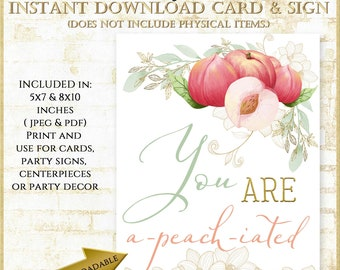 You are a-peach-iated sign, Peach Party Theme Sign, Peach Thank You Card, Retirement Party Printable Sign, Appreciation Card, #91721