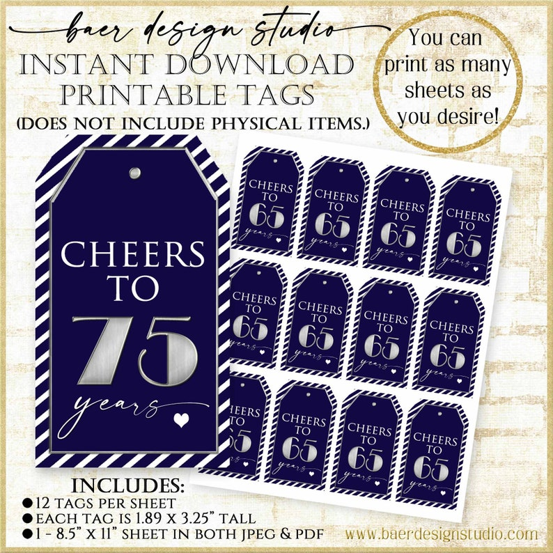 75th Birthday Tag Navy and Silver:75th Birthday Party Favor image 1