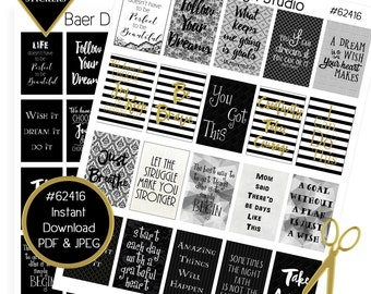 """Printable Planner Sticker, Digital Quotes, Planner Quote Stickers, Black and Gold Planner Stickers, Happy Planner 1.5""""x2.25"""" boxes, #62416"""