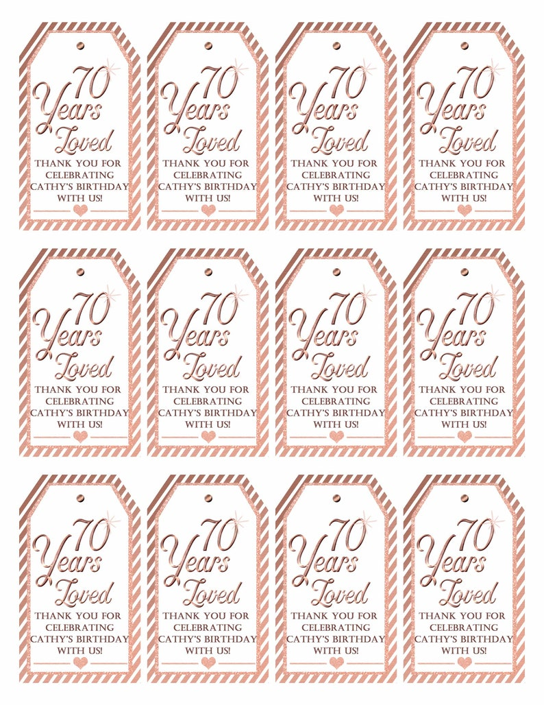 70th Birthday Party:80 Years Loved Tag Rose Gold 90th birthday Printable Tags Mini Wine Tags Thank You Tag 50 Years Blessed Tag 92418