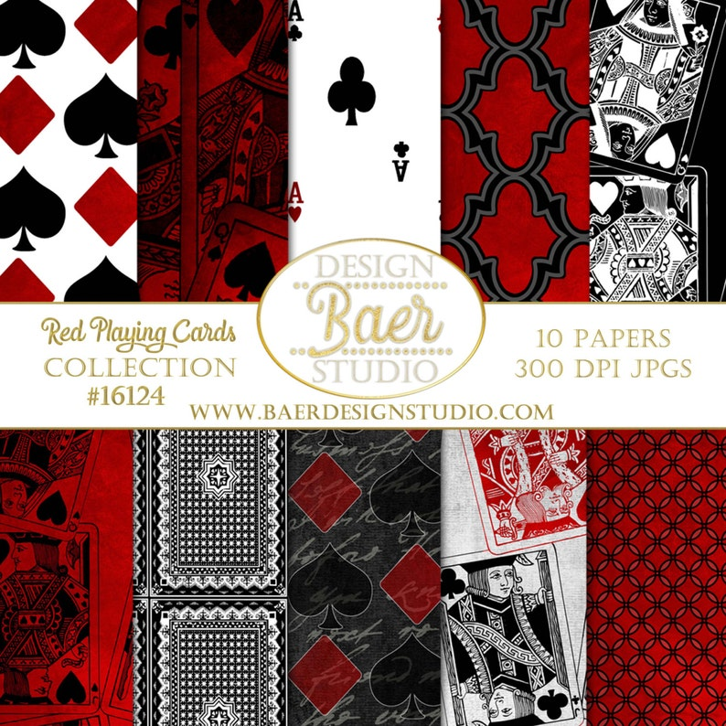Red Playing Card Digital Paper Gothic Digital Paper Grunge image 0