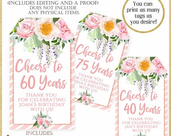 Pink Floral Mini Wine Tag:60th Birthday, Personalized Floral Printable Tags, Printable Party Favor Tag, Pink Cheers to 40 Years Tag, #6519
