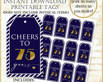 Navy 75th Birthday Tag:75th Birthday Party Favor Tags, Cheers to 75 years printable tags, Navy and Gold Tags, Mini Alcohol Bottle Tags, 9821