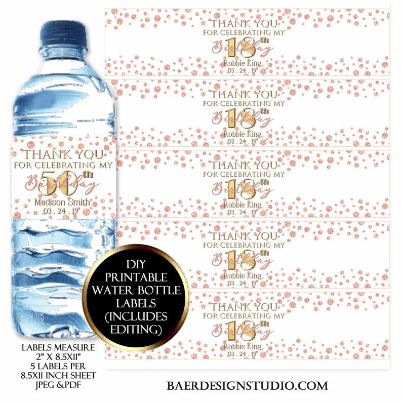 Rose Gold Water Bottle Label:Printable Waterbottle Label image 0